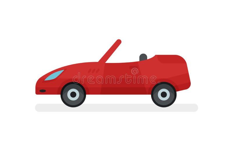 Płaska wektorowa ikona jaskrawy czerwony kabriolet, boczny widok Samochód osobowy z otwartym dachem spotykający staci pociągu tra royalty ilustracja