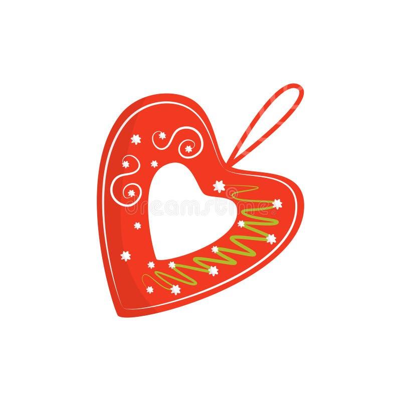 Płaska wektorowa ikona jaskrawy czerwony licitar serce Tradycyjna autentyczna Chorwacka pamiątka Dekoracyjny element dla bożych n ilustracja wektor