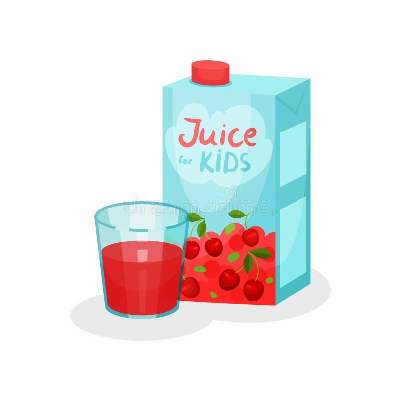 Płaska wektorowa ikona karton paczka i szkło smakowity czereśniowy sok Wyśmienicie i słodki napój dla dzieciaków Naturalny napój ilustracji