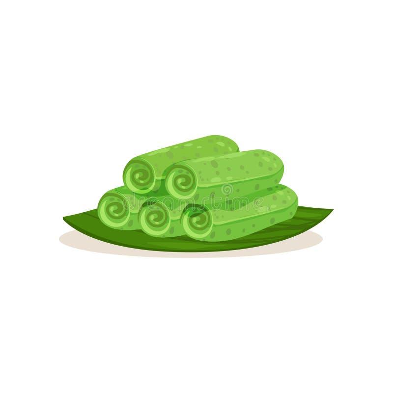 Płaska wektorowa ikona kuih ketayap na zielonym liściu Tradycyjny malezyjski deser Słodki jedzenie kuchnia azjatykcia ilustracja wektor
