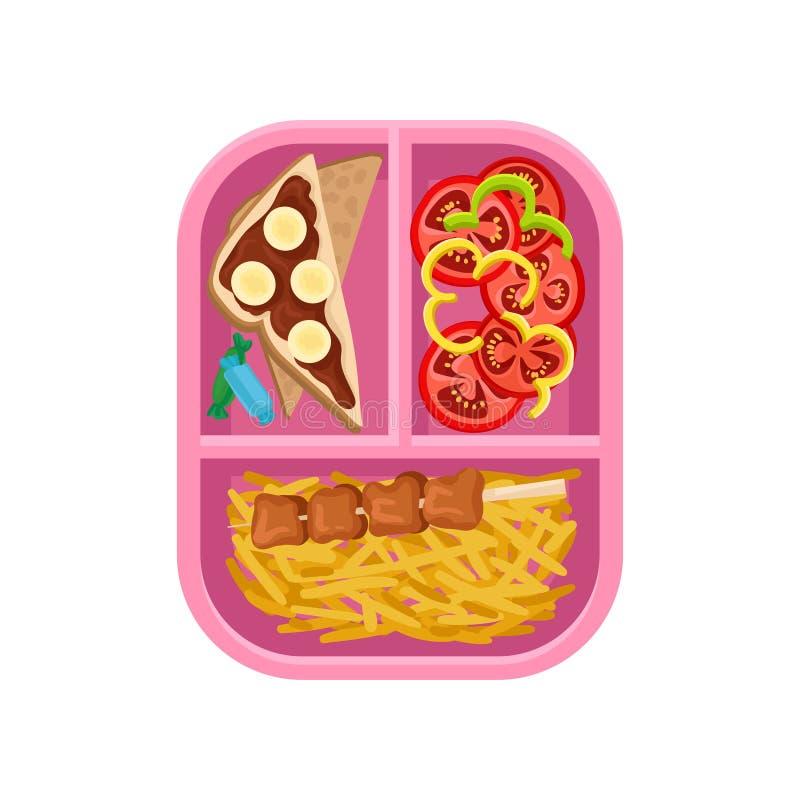 Płaska wektorowa ikona lunch na tacy Czekoladowa bananowa kanapka, francuz smaży z shish kebabem, pokrojonymi pomidorami i pieprz royalty ilustracja