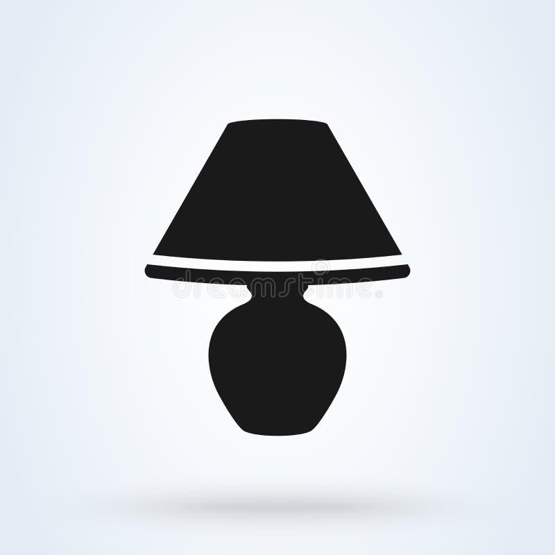 Płaska wektorowa ikona mała wezgłowie lampa abażurka wektoru ikona royalty ilustracja