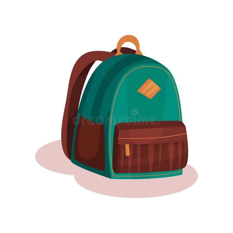 Płaska wektorowa ikona mała zielona szkolna torba Miastowy plecak z brown kieszeniami Element dla reklamowego plakata lub sztanda ilustracja wektor