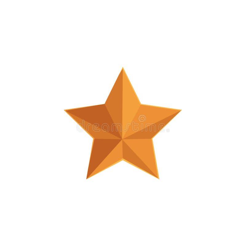 Płaska wektorowa ikona pięcioramienna złota gwiazda ilustracji