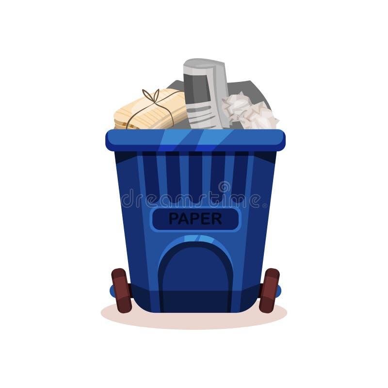 Płaska wektorowa ikona plastikowy zbiornik dla suchego odpady Stare gazety i miący papier Śmieciarski rozdzielenie i usuwanie ilustracja wektor
