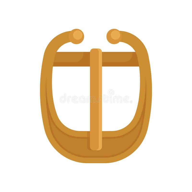 Płaska wektorowa ikona pozłacająca metal klamra z zależącą od szpilką Szaty akcesorium Element odzież ilustracji