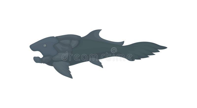 Płaska wektorowa ikona prehistoryczna ryba Wielka morska istota Denny zwierzę od epoki lodowcowej ilustracji