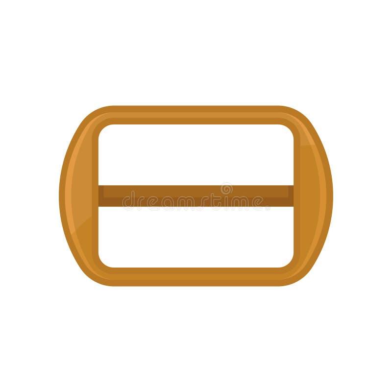 Płaska wektorowa ikona prostokątna pasowa klamra w złotym kolorze Dodatkowa część rzemienny pasek lub torba ilustracji