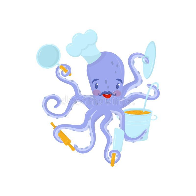 Płaska wektorowa ikona purpurowa ośmiornica z wąsy i szefa kuchni s kapeluszem na głowie Dennego zwierzęcia mienia kuchni narzędz ilustracja wektor