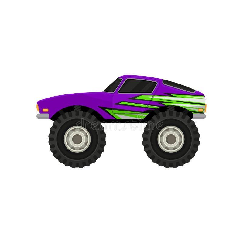 Płaska wektorowa ikona purpurowa potwór ciężarówka Kreskówki ikona samochód z ampuł oponami, czerni zabarwiających okno i zielone royalty ilustracja