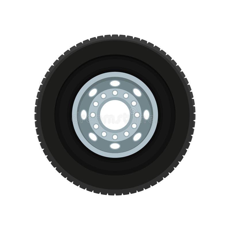 Płaska wektorowa ikona samochodu koło Samochodowy dysk z czarną gumową oponą Boczny widok Element dla reklamowego sztandaru lub royalty ilustracja