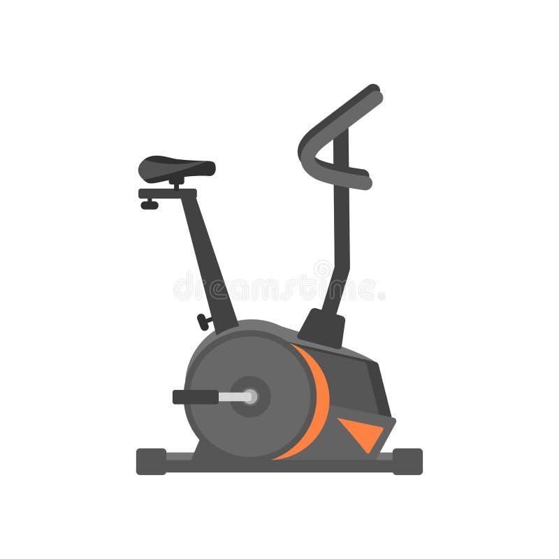Płaska wektorowa ikona stacjonarny bicykl Ćwiczenia wyposażenie Zdrowie i fizyczna aktywność Projekt dla reklamowego plakata royalty ilustracja