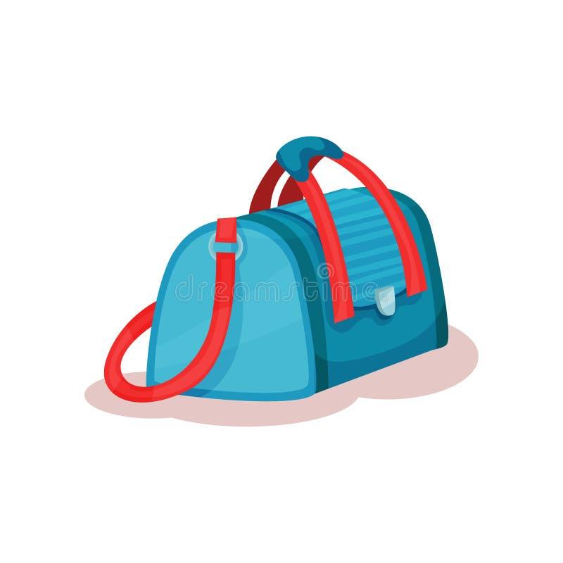 Płaska wektorowa ikona wielka podróży torba z czerwonymi rękojeściami Jaskrawa błękitna torebka dla niesie osobiste rzeczy Bagaż  ilustracji