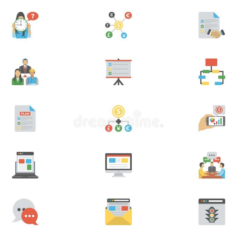 Płaska Wektorowa ikony paczka zarządzanie projektem royalty ilustracja