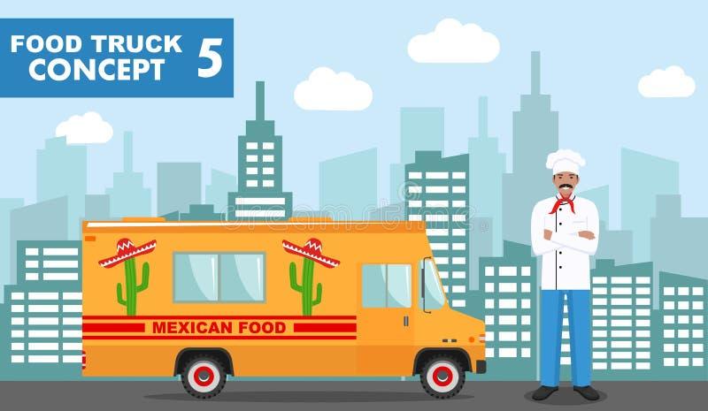 Płaska wektorowa ilustracja jedzenie kucharz na tle z pejzażem miejskim i ciężarówka Tradycyjna Meksykańska uliczna kuchnia Auto  royalty ilustracja