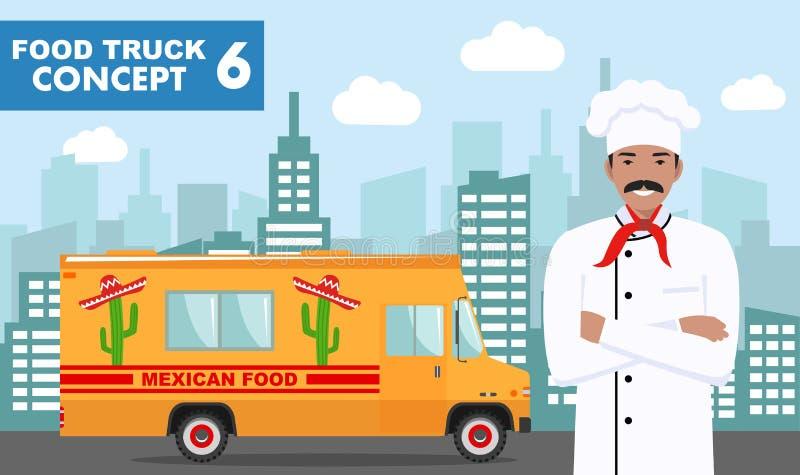 Płaska wektorowa ilustracja jedzenie kucharz na tle z pejzażem miejskim i ciężarówka Tradycyjna Meksykańska uliczna kuchnia autob ilustracji