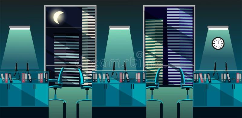 Płaska wektorowa ilustracja nowożytny biurowy izbowy wnętrze z wielkimi okno w drapacz chmur z stołami i pecet przy nocą otwarta  royalty ilustracja
