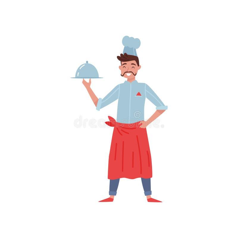 Płaska wektorowa ilustracja restauracyjny szef kuchni z naczyniem w ręce Uśmiechnięty mężczyzna z wąsy Cook w mundurze z czerwony royalty ilustracja