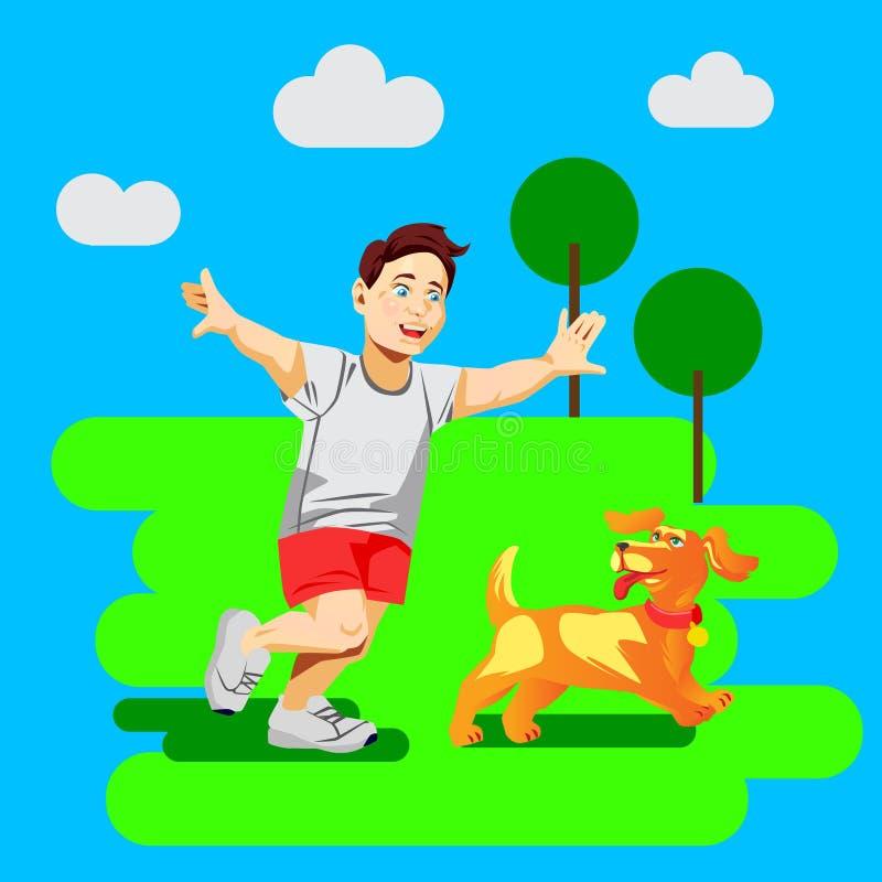 Płaska wektorowa ilustracja z chłopiec sztuką z psem ilustracja wektor
