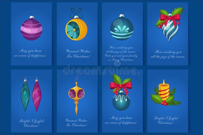 Płaska wektorowa kolekcja 8 jaskrawych pocztówek z gratulacjami dla Wesoło bożych narodzeń i nowego roku Kartka z pozdrowieniami  royalty ilustracja