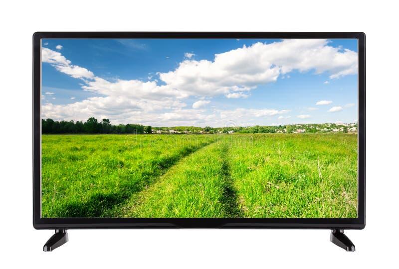 Płaska wysoka definicja TV z wiejską drogą na ekranie fotografia stock