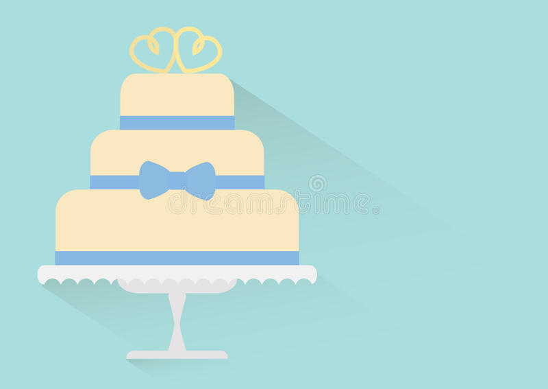 Płaski ślubny tort royalty ilustracja