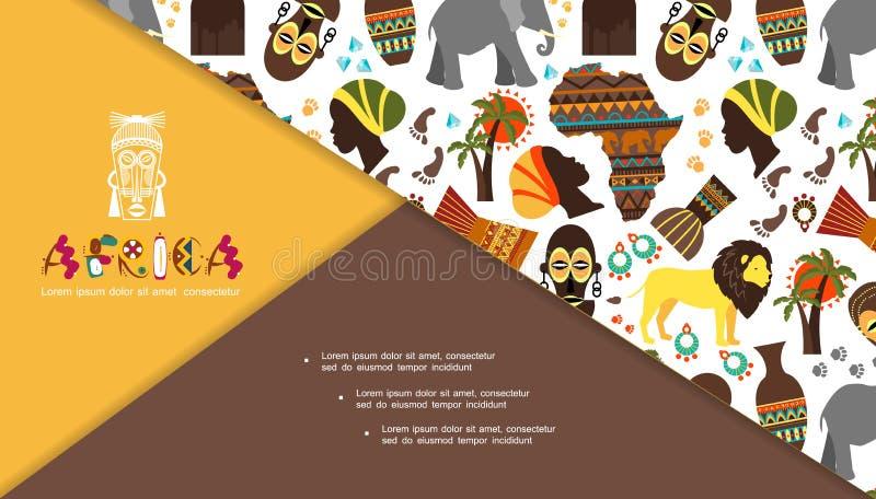 Płaski Afrykański Tradycyjny elementu skład ilustracja wektor