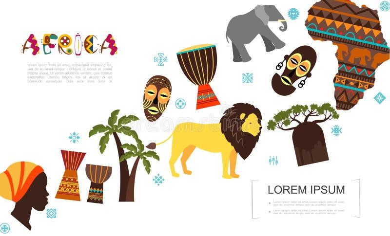 Płaski Afrykański Tradycyjny elementu szablon ilustracji