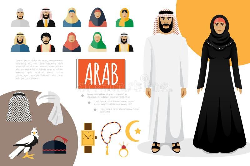 Płaski Arabski kultura elementów skład ilustracja wektor