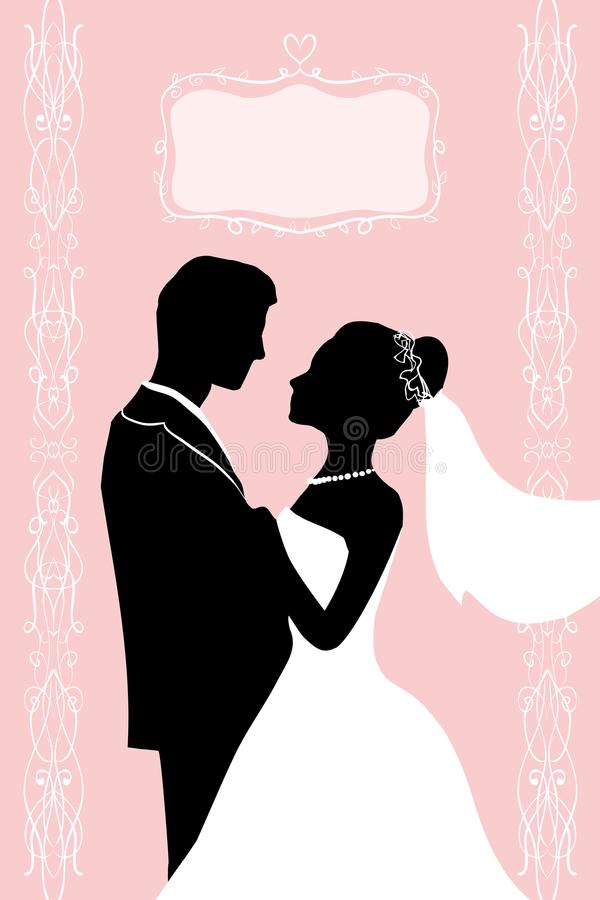 Płaski atrament sylwetki państwo młodzi - poślubiać wektorowego zaproszenie ilustracji