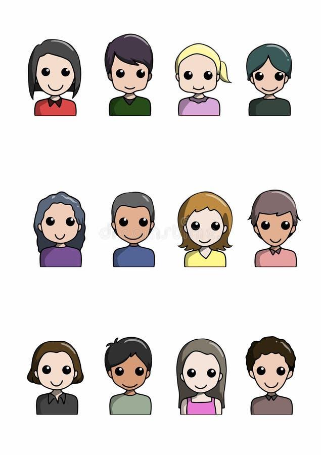 płaski avatar set uwalnia royalty ilustracja