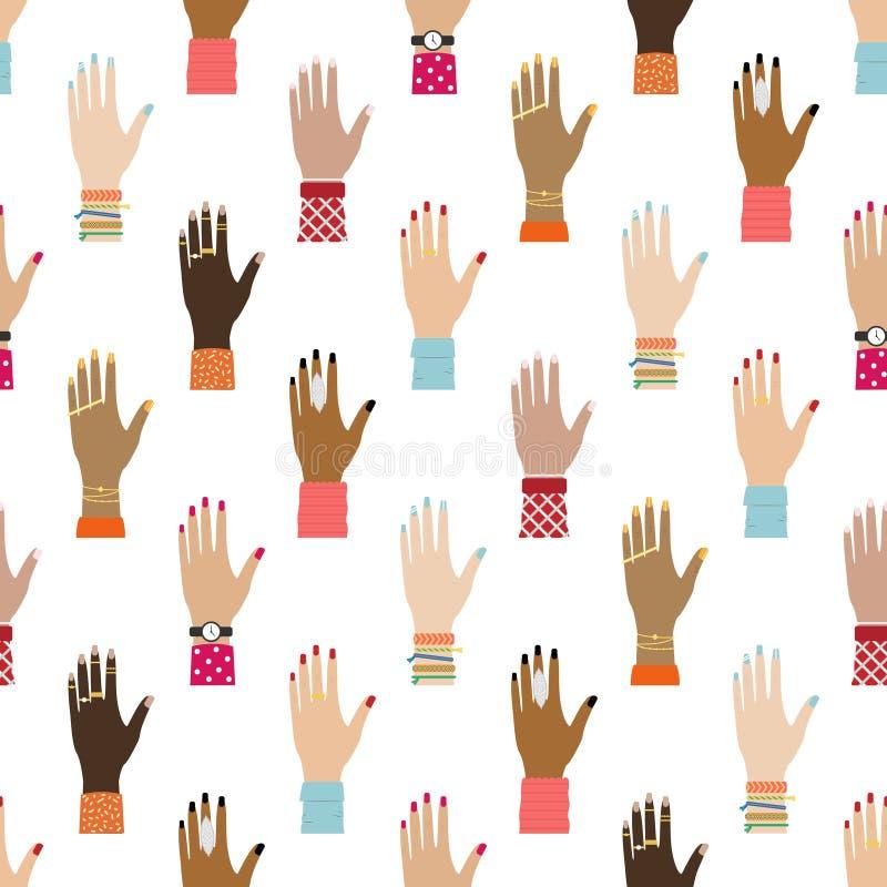 Płaski bezszwowy wzór z dziewczyn rękami Feministyczny t?o Kobiety wyprostowywają r royalty ilustracja