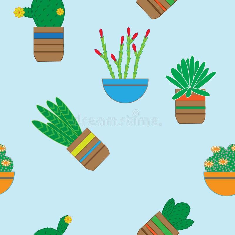 Płaski bezszwowy wzór z sukulentów kaktusami w garnkach i roślinami ilustracja wektor