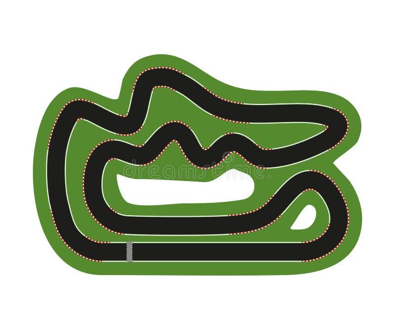 Płaski biegowy ślad Odgórny widok ślad z ocenami dla sportowego samochodu również zwrócić corel ilustracji wektora royalty ilustracja