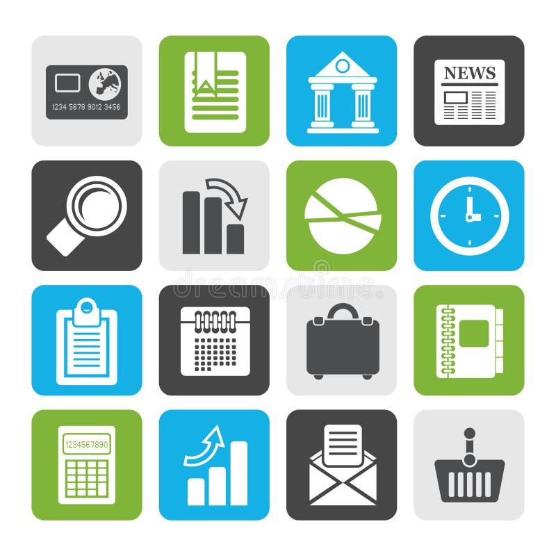 Płaski biznes i Biurowe Realistyczne Internetowe ikony ilustracja wektor