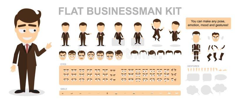Płaski biznesmena zestaw ilustracja wektor
