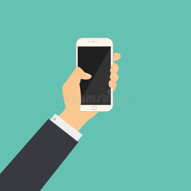 Płaski biznesowy ręka chwyt telefon z pustym ekranem royalty ilustracja