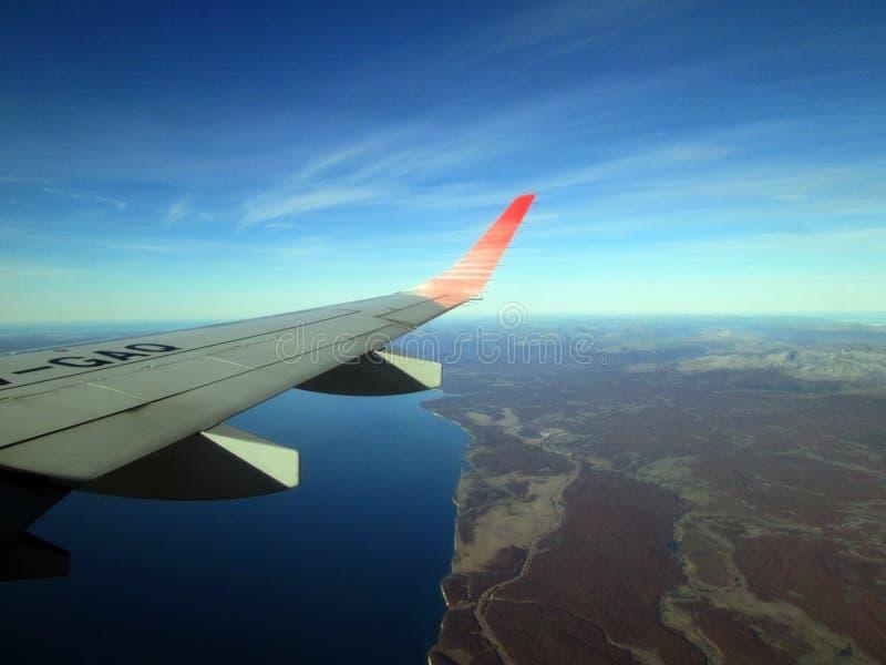 Płaski brać daleko od Malvinas Argentinas lotniska międzynarodowego Ushuaia obrazy royalty free