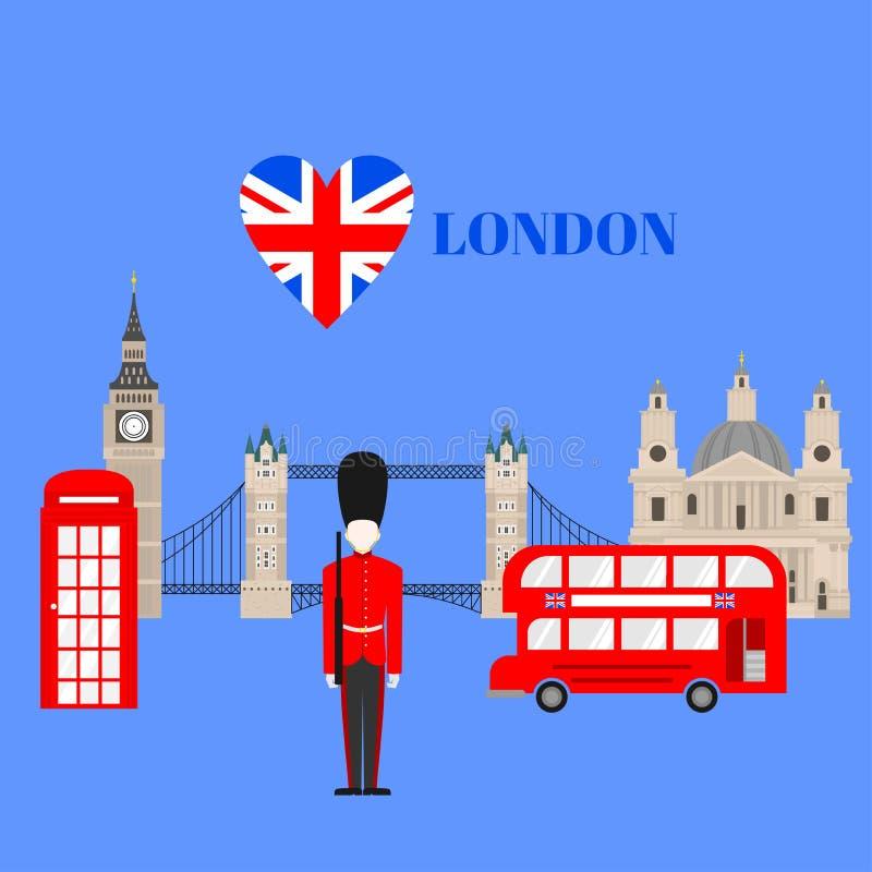 Płaski buduje Zjednoczone Królestwo, Londyński podróży ikony punkt zwrotny Miasto architektura Anglia Wielki Brytania podróży zwi ilustracja wektor