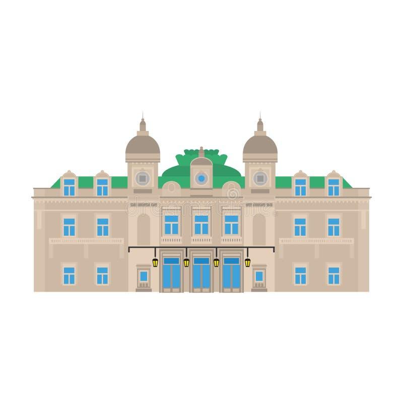 Płaski budynek Monaco kraj podróży ikony punkt zwrotny w Monte, Carlo, - wektor wizerunku miasta architektury Światowy podróż wak royalty ilustracja