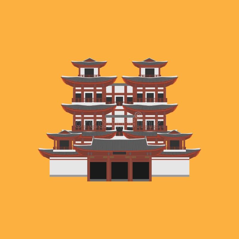 Płaski budynek republika Singapur, podróży ikony punkt zwrotny wektor wizerunku miasta architektury Światowy Azjatycki podróż wak ilustracja wektor