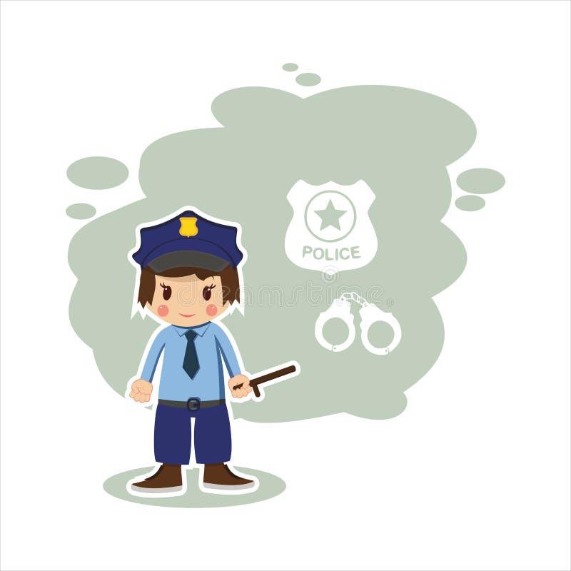Płaski chłopiec policjant ilustracji
