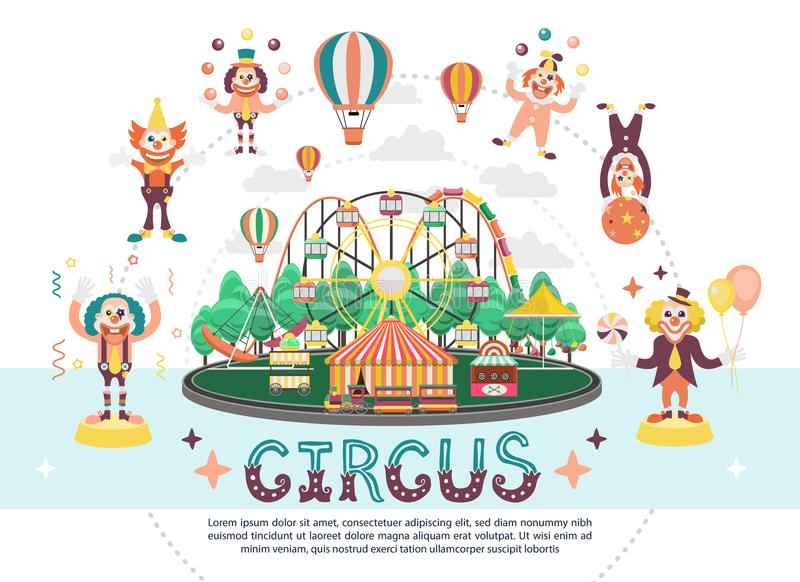 Płaski Cyrkowy Karnawałowy Round skład ilustracja wektor