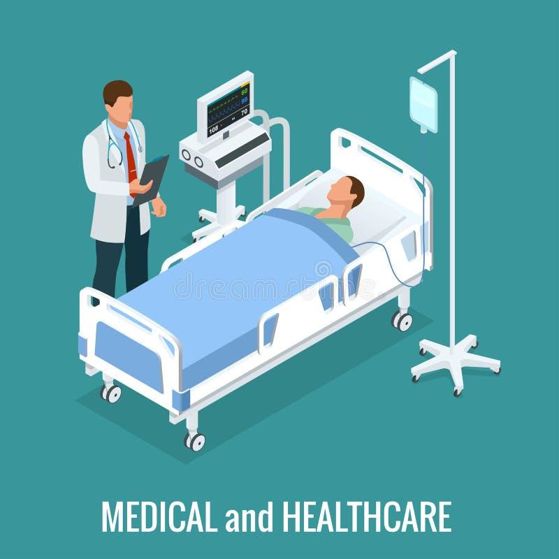 Płaski 3D ilustracyjny Isometric wnętrze sala szpitalna Lekarki taktuje pacjenta Szpitalny kliniki wnętrze royalty ilustracja