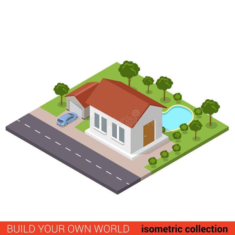 Płaski 3d przedmieścia domu garażu podwórka wektorowy isometric basen royalty ilustracja