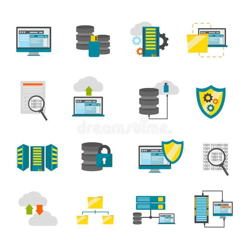 Płaski Datacenter ikony set ilustracja wektor