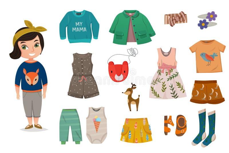 Płaski dziewczynki mody ikony set ilustracja wektor