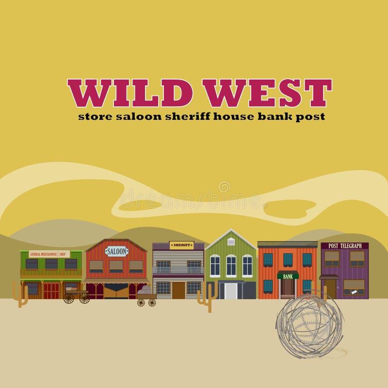 Płaski Dziki Zachodni Uliczny scenerii tło ilustracja wektor