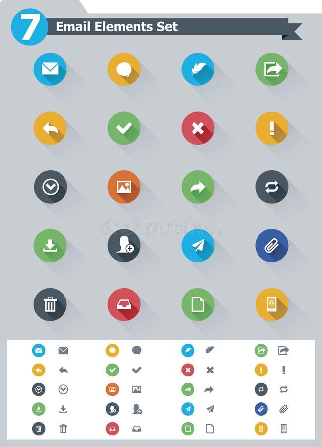 Płaski email ikony set ilustracji