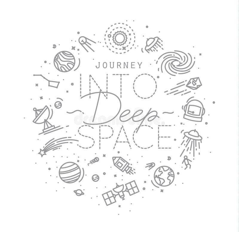 Płaski głębokiej przestrzeni monogram ilustracji